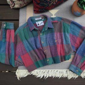 Vintage Cropped Plaid Flannel Shirt